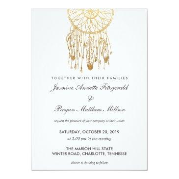boho dreamcatcher faux gold foil tribal wedding invitations