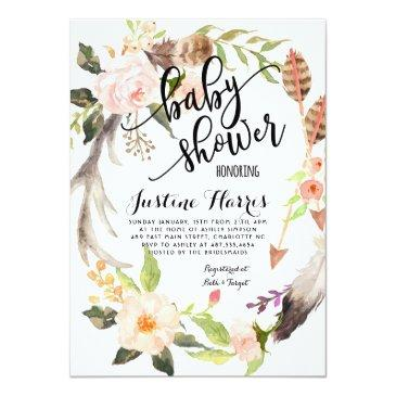 Small Boho Feathers Baby Shower Invitation Front View