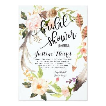 Small Boho Feathers Bridal Shower Invitation Front View