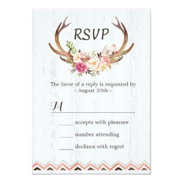 Small Boho Floral Antler Rustic White Wood Wedding Rsvp Front View