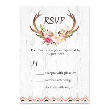 boho floral antler rustic white wood wedding rsvp