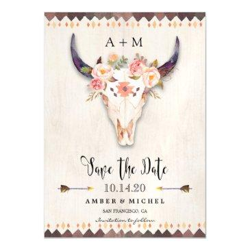 boho floral antler tribal cow skull save the date magnetic