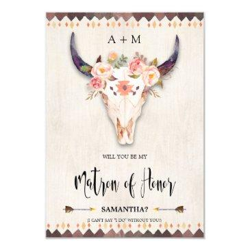 boho floral antlers bull skull matron of honor