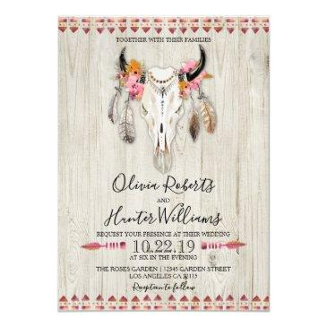 boho floral feather antlers cow skull wood wedding