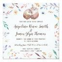 boho love owls wedding invitations floral