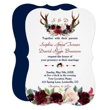 boho merlot navy blue floral antlers wedding