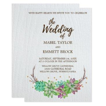 boho rustic desert floral succulent wedding invitation