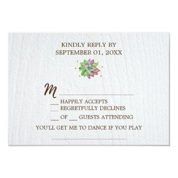 boho rustic floral succulent song request rsvp invitations