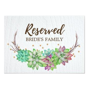 boho rustic floral succulent wedding reserved sign