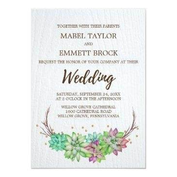 boho rustic pink and mint floral succulent wedding invitations