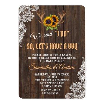 Small Boho Sunflowers Antlers Wedding I Do Bbq Front View