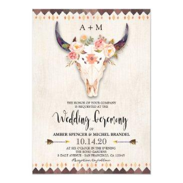 boho tribal floral antlers cow skull wedding invitations