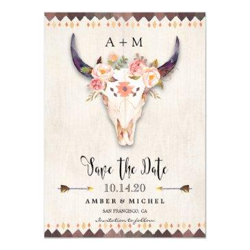 boho tribal watercolor cow skull save the date