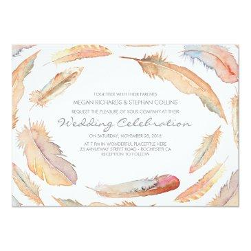 Small Boho Watercolor Feathers Tribal And Wild Wedding Invitationss Front View
