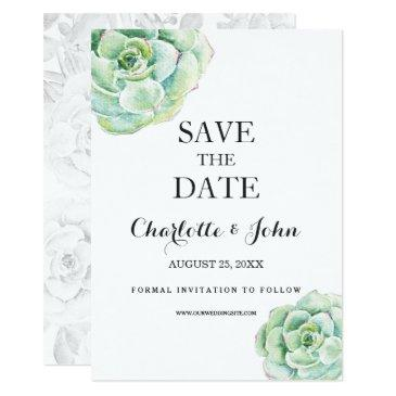 boho watercolor succulent wedding save the dates