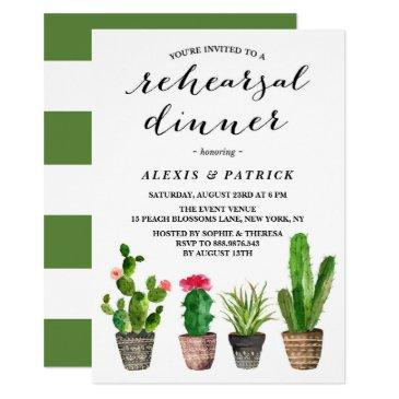 boho watercolor succulents rehearsal dinner