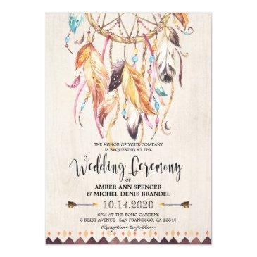 boho wedding invitations tribal dreamcatcher invite