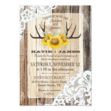 boho wood sunflower antlers lace rustic wedding