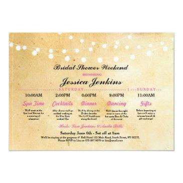 bridal shower itinerary rustic pink bachelorette invitations