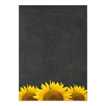 Small Bridal Shower Rustic Sunflower Black Chalkboard Invitationss Back View