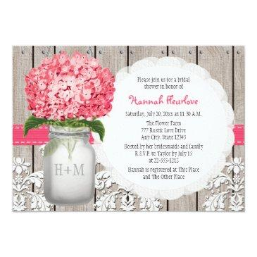 Small Bright Pink Hydrangea Mason Jar Bridal Shower Front View