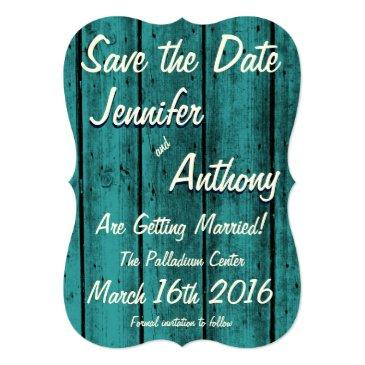 bright turquoise rustic save the date no. 2br invitations