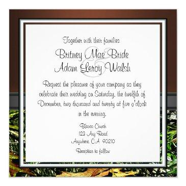 Small Brown And Mossy Green Camo Wedding Invitation Back View