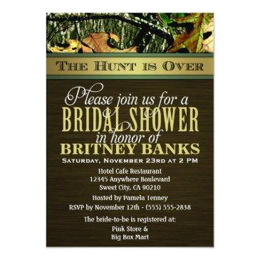 Small Brown Hunting Camo Bridal Shower Invitationss Front View
