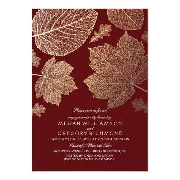 burgundy and gold leaves fall engagement party invitation