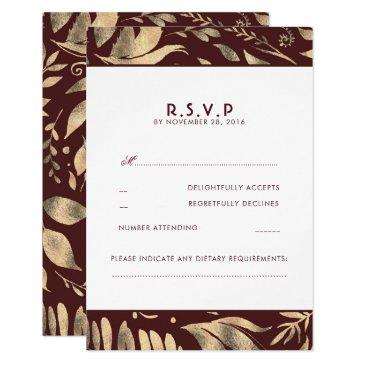burgundy and gold leaves fall wedding rsvp