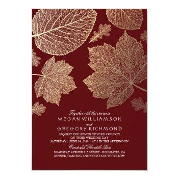 Small Burgundy And Gold Leaves Vintage Fall Wedding Front View