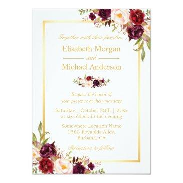 Small Burgundy Blush Bloom Floral Gold Frame Wedding Invitation Front View