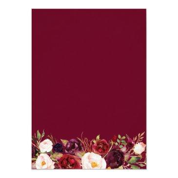 Small Burgundy Blush Bloom Floral Gold Frame Wedding Invitation Back View