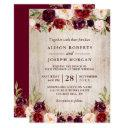 burgundy blush floral rustic barn wood wedding invitations
