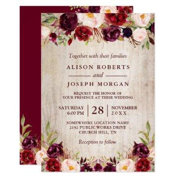 burgundy blush floral rustic barn wood wedding