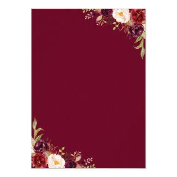 Small Burgundy Blush Floral Rustic Barn Wood Wedding Invitation Back View