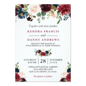 Small Burgundy Blush Navy Blue Floral Botanical Wedding Invitations Front View