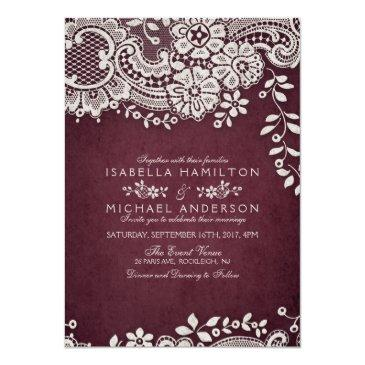 Small Burgundy Elegant Vintage Lace Rustic Wedding Invitation Front View
