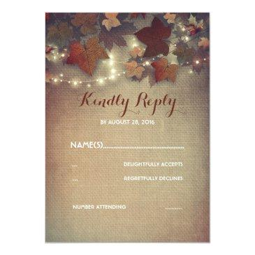 Small Burgundy Fall Leaves Rustic Wedding Rsvp Invitation Front View