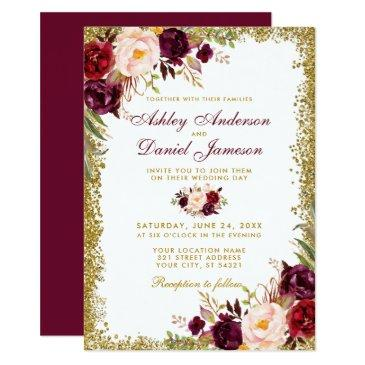 burgundy floral gold glitter wedding  b