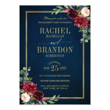 burgundy floral gold navy blue rustic engagement invitation