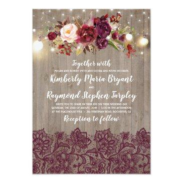 Small Burgundy Floral Lace Rustic Wedding Invitationss Front View