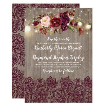 burgundy floral lace rustic wedding invitations
