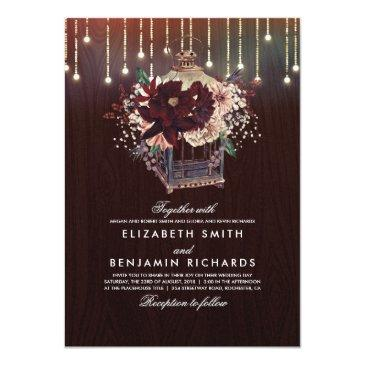 burgundy floral lantern lights rustic wood wedding invitations