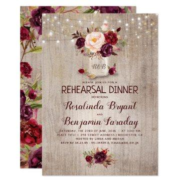 burgundy floral mason jar rustic rehearsal dinner invitations
