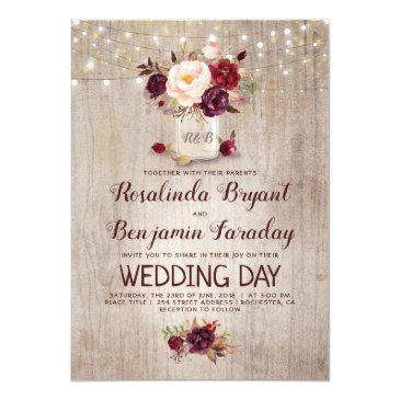 Small Burgundy Floral Mason Jar Rustic Wedding Invitationss Front View
