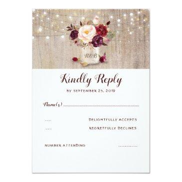 Small Burgundy Flowers Rustic Rsvp Invitationss Front View