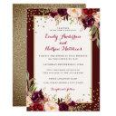 burgundy gold confetti floral wedding invitations