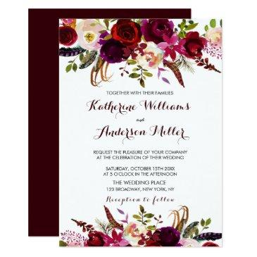 burgundy marsala bohemian floral autumn wedding