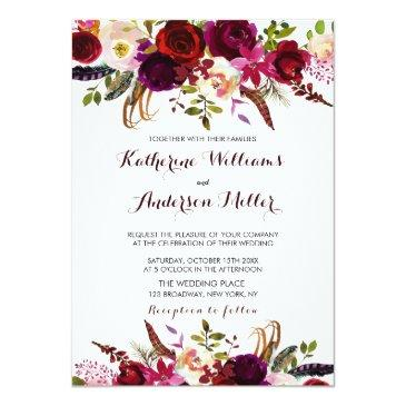 Small Burgundy Marsala Bohemian Floral Autumn Wedding Invitationss Front View